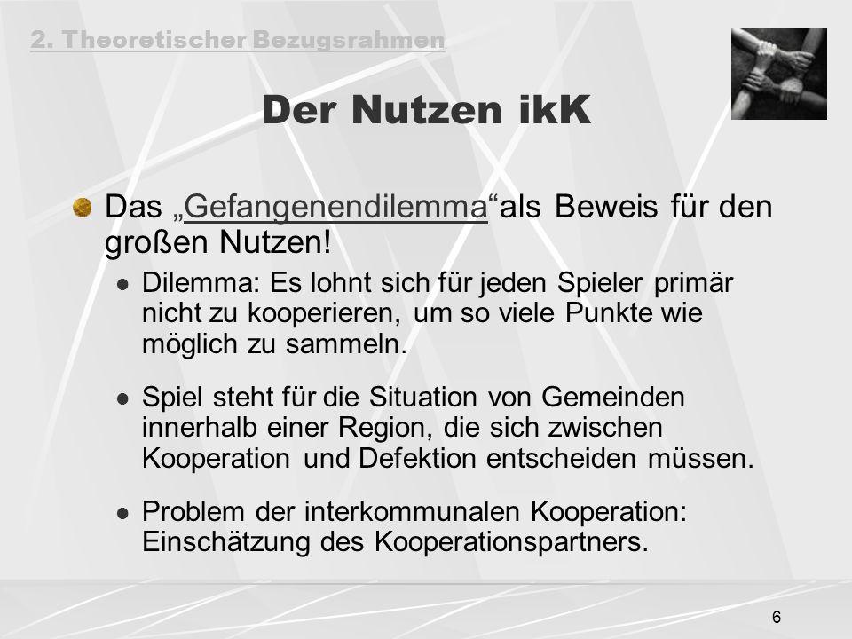"""6 Der Nutzen ikK Das """"Gefangenendilemma""""als Beweis für den großen Nutzen! Dilemma: Es lohnt sich für jeden Spieler primär nicht zu kooperieren, um so"""