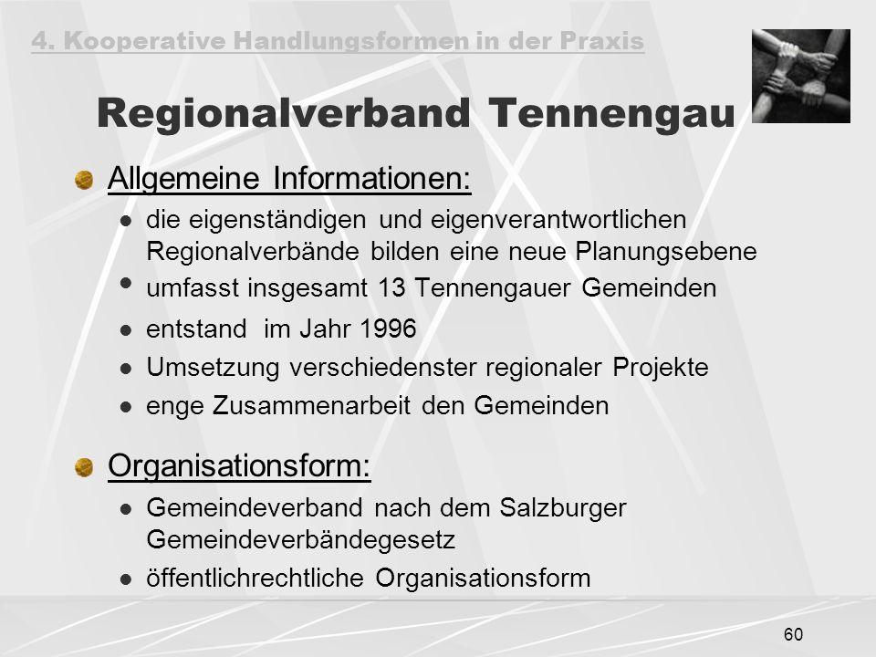 60 Regionalverband Tennengau Allgemeine Informationen: die eigenständigen und eigenverantwortlichen Regionalverbände bilden eine neue Planungsebene umfasst insgesamt 13 Tennengauer Gemeinden entstand im Jahr 1996 Umsetzung verschiedenster regionaler Projekte enge Zusammenarbeit den Gemeinden Organisationsform: Gemeindeverband nach dem Salzburger Gemeindeverbändegesetz öffentlichrechtliche Organisationsform 4.