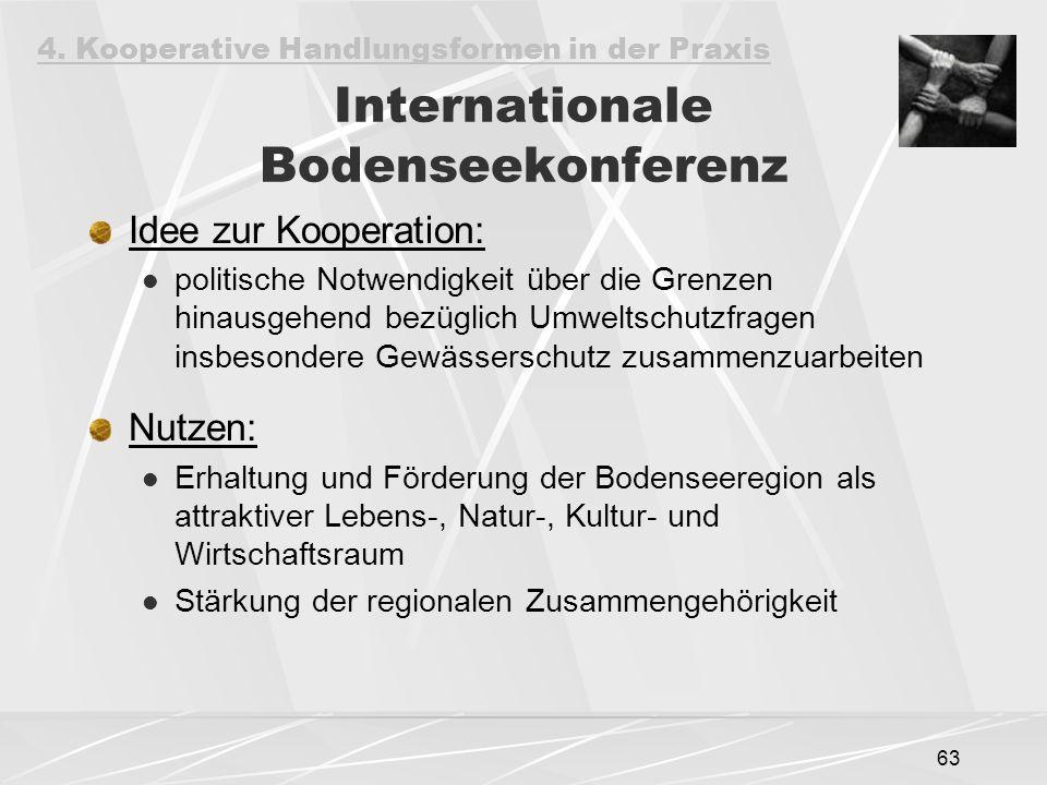 63 Internationale Bodenseekonferenz Idee zur Kooperation: politische Notwendigkeit über die Grenzen hinausgehend bezüglich Umweltschutzfragen insbesondere Gewässerschutz zusammenzuarbeiten Nutzen: Erhaltung und Förderung der Bodenseeregion als attraktiver Lebens-, Natur-, Kultur- und Wirtschaftsraum Stärkung der regionalen Zusammengehörigkeit 4.