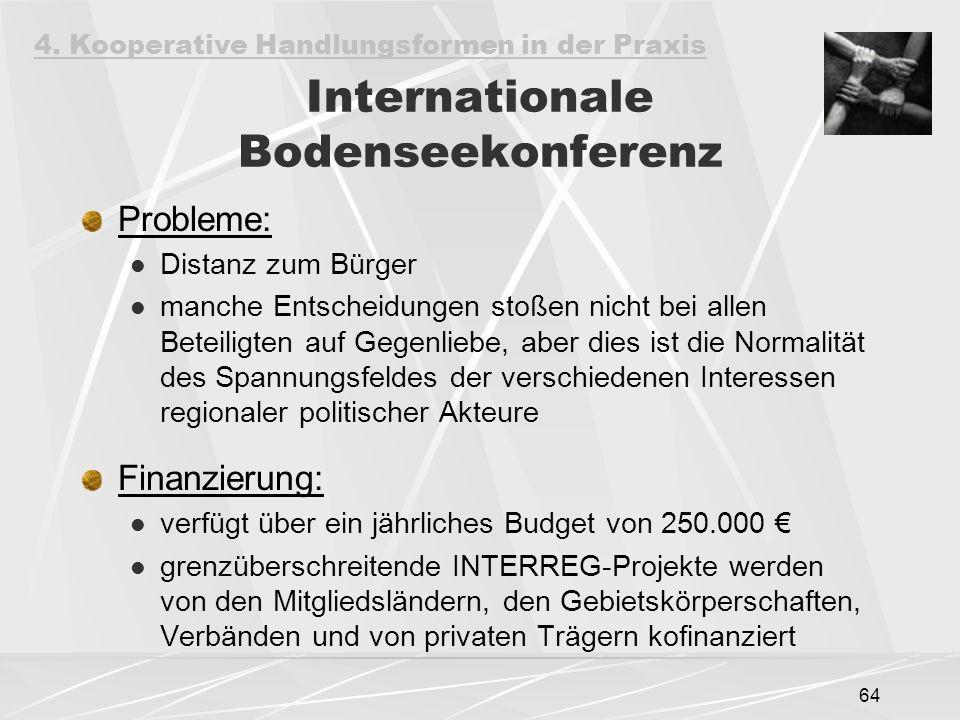 64 Internationale Bodenseekonferenz Probleme: Distanz zum Bürger manche Entscheidungen stoßen nicht bei allen Beteiligten auf Gegenliebe, aber dies ist die Normalität des Spannungsfeldes der verschiedenen Interessen regionaler politischer Akteure Finanzierung: verfügt über ein jährliches Budget von 250.000 € grenzüberschreitende INTERREG-Projekte werden von den Mitgliedsländern, den Gebietskörperschaften, Verbänden und von privaten Trägern kofinanziert 4.