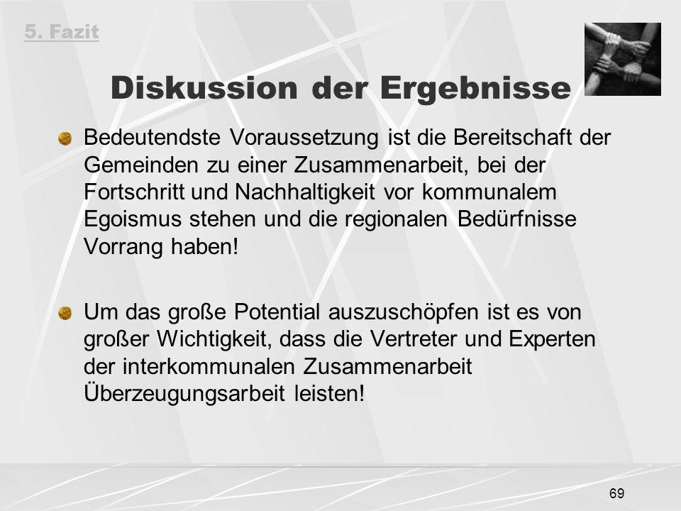 69 Diskussion der Ergebnisse Bedeutendste Voraussetzung ist die Bereitschaft der Gemeinden zu einer Zusammenarbeit, bei der Fortschritt und Nachhaltigkeit vor kommunalem Egoismus stehen und die regionalen Bedürfnisse Vorrang haben.