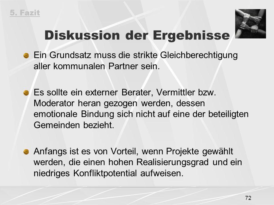 72 Diskussion der Ergebnisse Ein Grundsatz muss die strikte Gleichberechtigung aller kommunalen Partner sein.