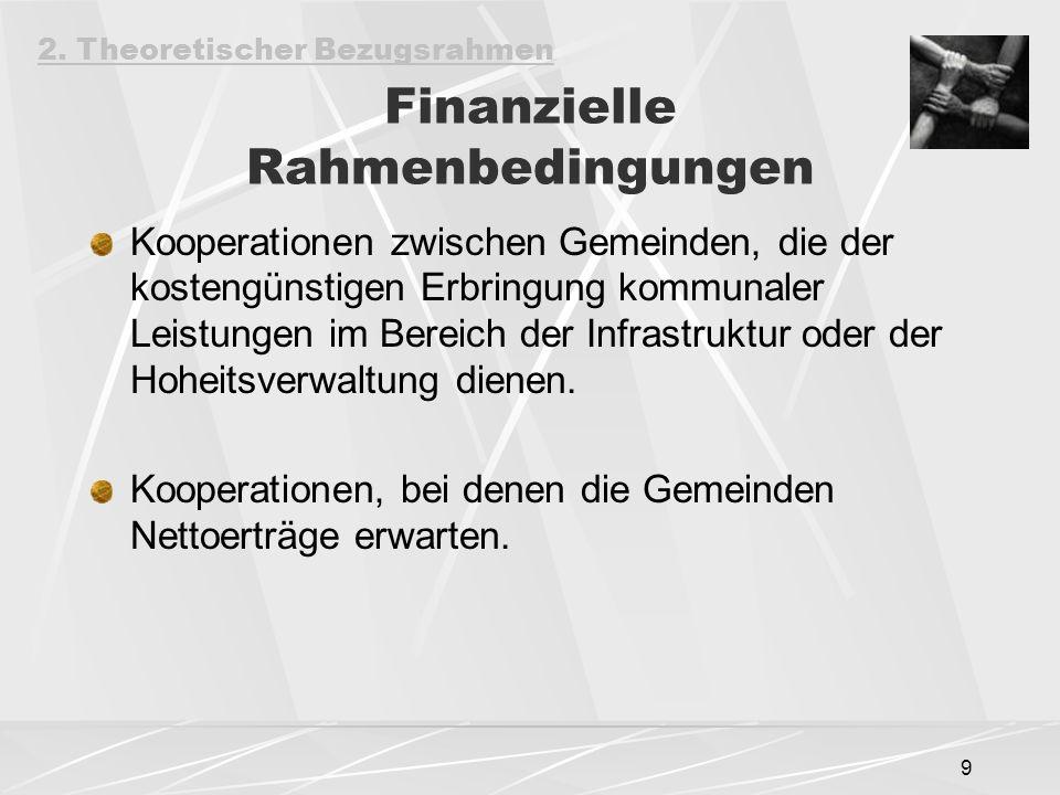 9 Finanzielle Rahmenbedingungen Kooperationen zwischen Gemeinden, die der kostengünstigen Erbringung kommunaler Leistungen im Bereich der Infrastruktur oder der Hoheitsverwaltung dienen.