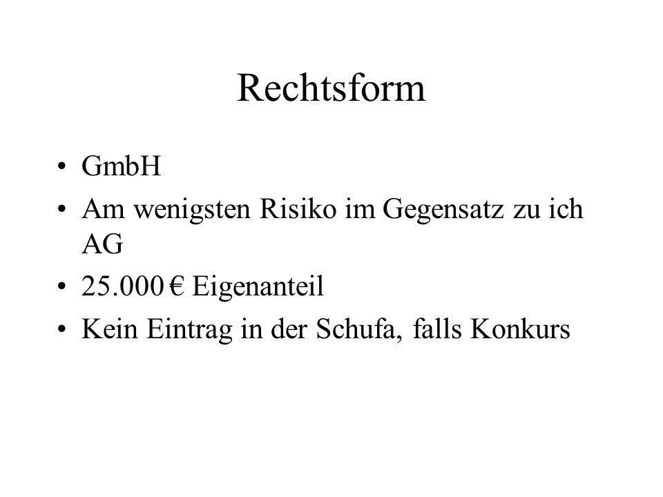 Rechtsform GmbH Am wenigsten Risiko im Gegensatz zu ich AG 25.000 € Eigenanteil Kein Eintrag in der Schufa, falls Konkurs