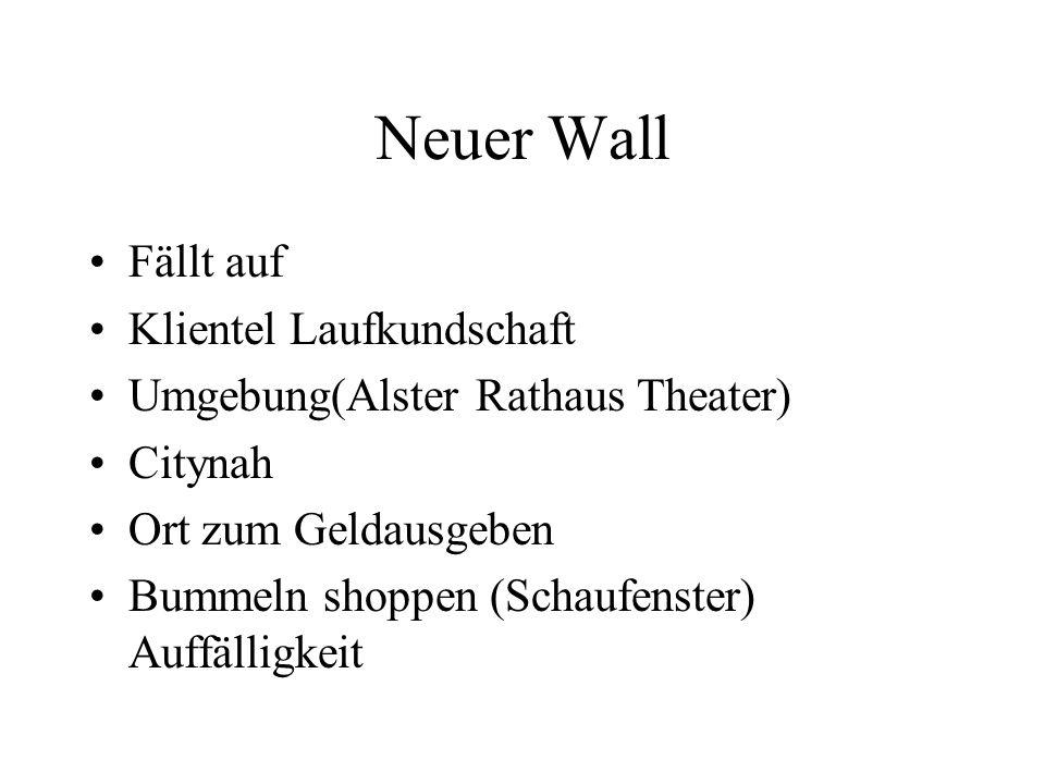 Neuer Wall Fällt auf Klientel Laufkundschaft Umgebung(Alster Rathaus Theater) Citynah Ort zum Geldausgeben Bummeln shoppen (Schaufenster) Auffälligkei