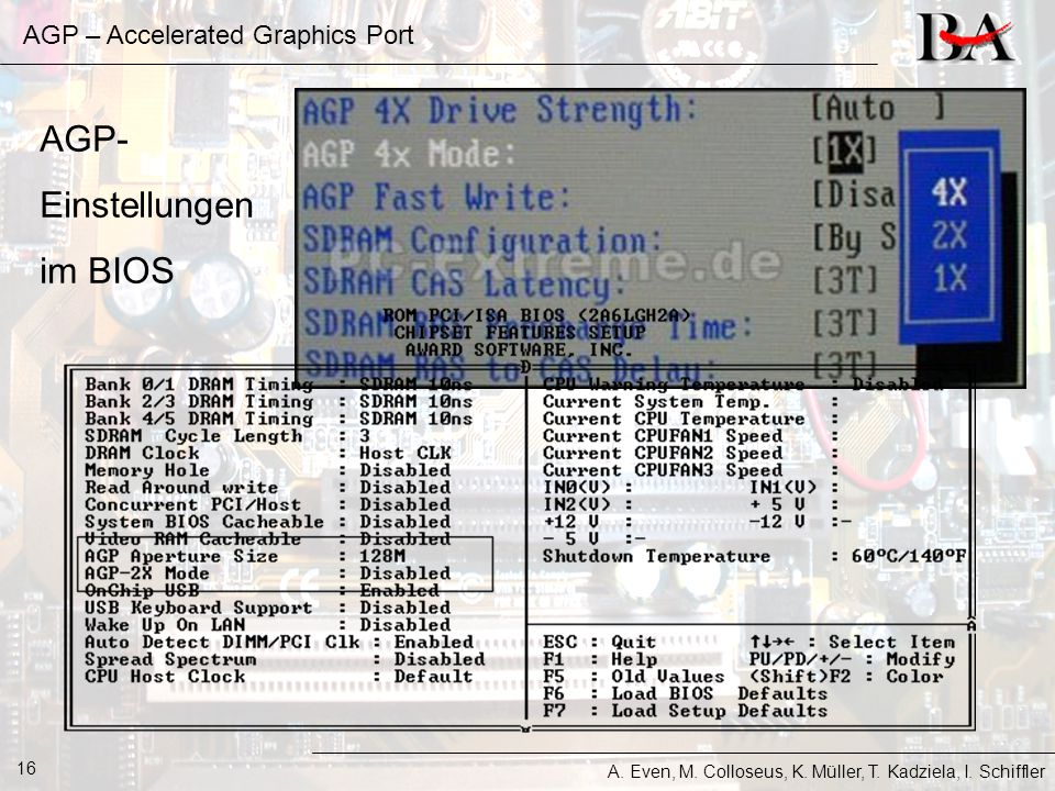 AGP – Accelerated Graphics Port A. Even, M. Colloseus, K. Müller, T. Kadziela, I. Schiffler 16 AGP- Einstellungen im BIOS