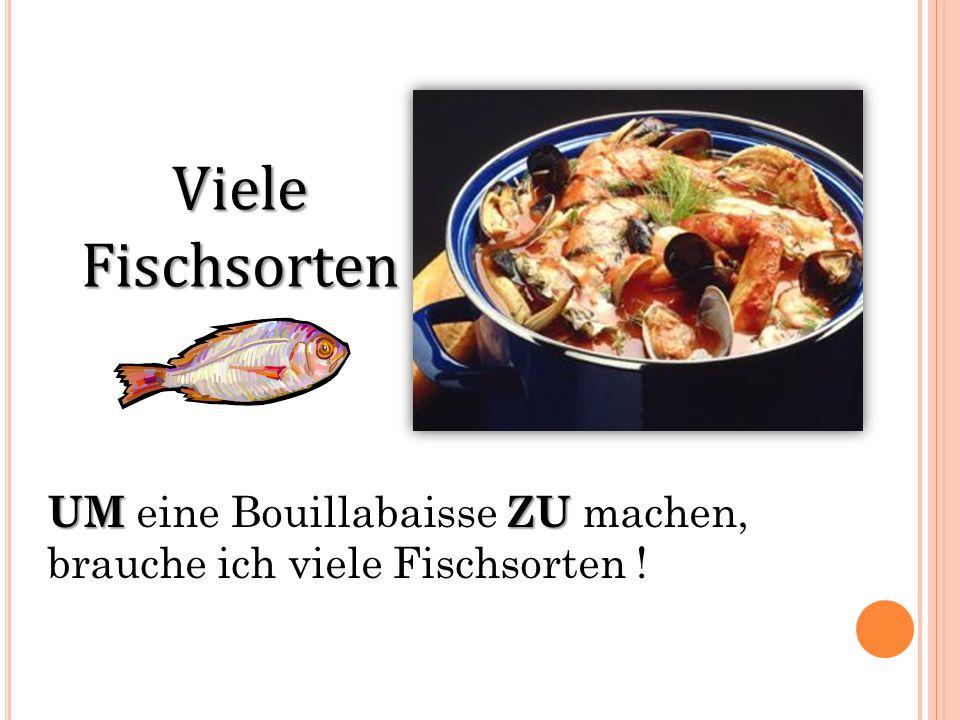 Viele Fischsorten UMZU UM eine Bouillabaisse ZU machen, brauche ich viele Fischsorten !