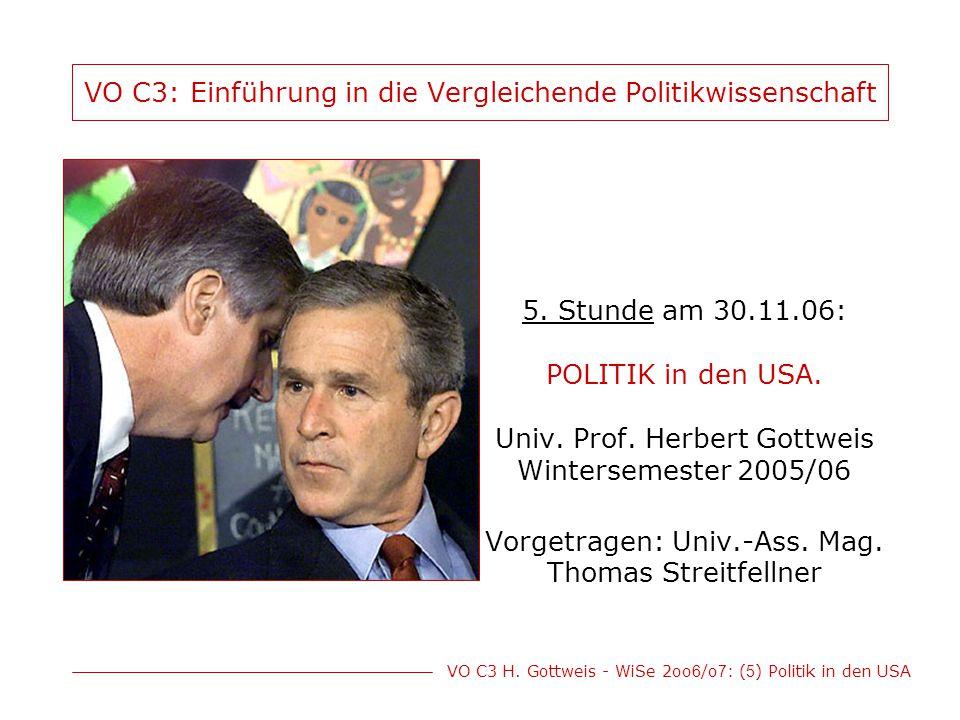 VO C3 H. Gottweis - WiSe 2oo 6 /o 7 : ( 5 ) Politik in den USA VO C3: Einführung in die Vergleichende Politikwissenschaft 5. Stunde am 30.11.06: POLIT