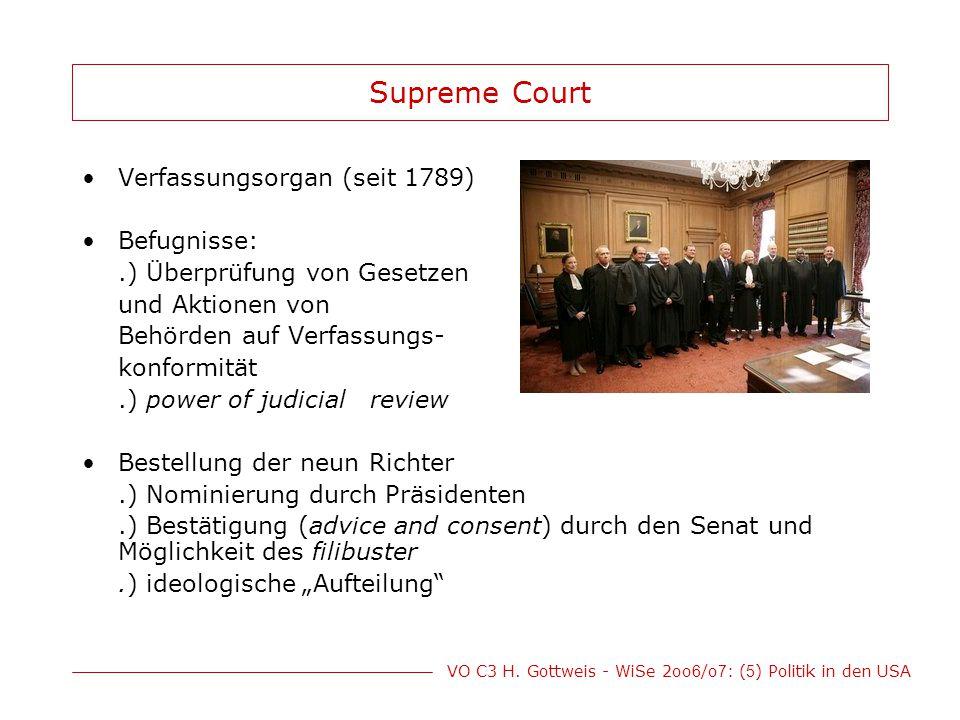 VO C3 H. Gottweis - WiSe 2oo 6 /o 7 : ( 5 ) Politik in den USA Supreme Court Verfassungsorgan (seit 1789) Befugnisse:.) Überprüfung von Gesetzen und A