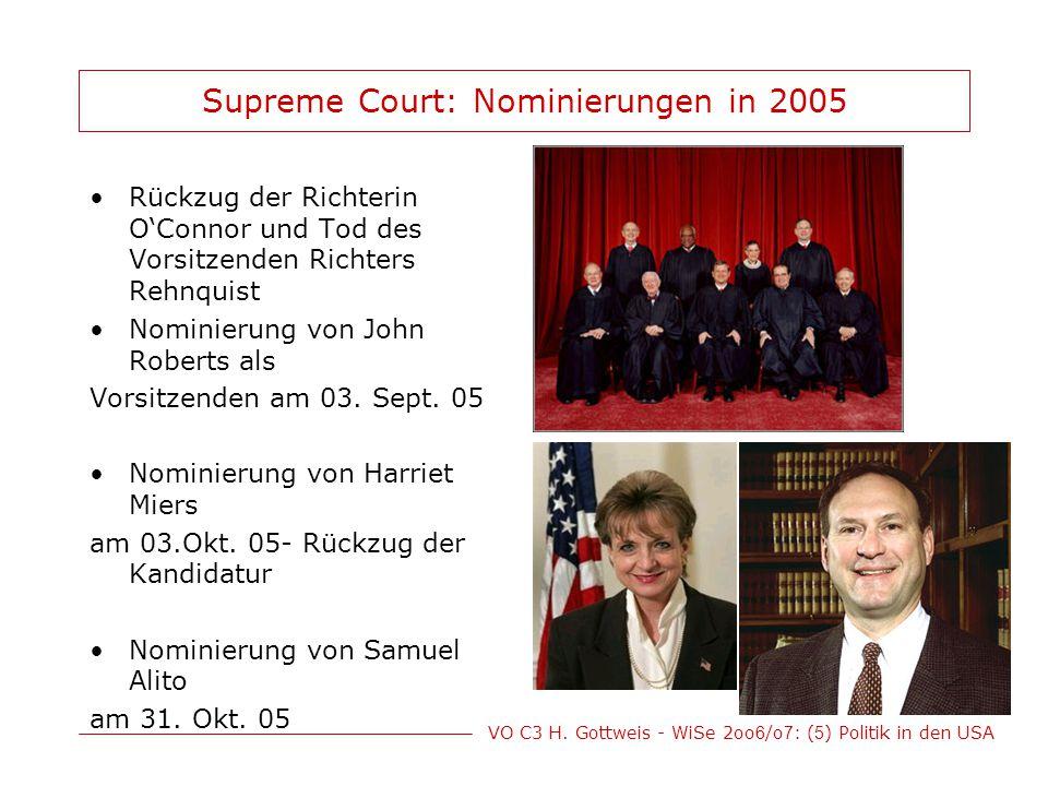 VO C3 H. Gottweis - WiSe 2oo 6 /o 7 : ( 5 ) Politik in den USA Supreme Court: Nominierungen in 2005 Rückzug der Richterin O'Connor und Tod des Vorsitz