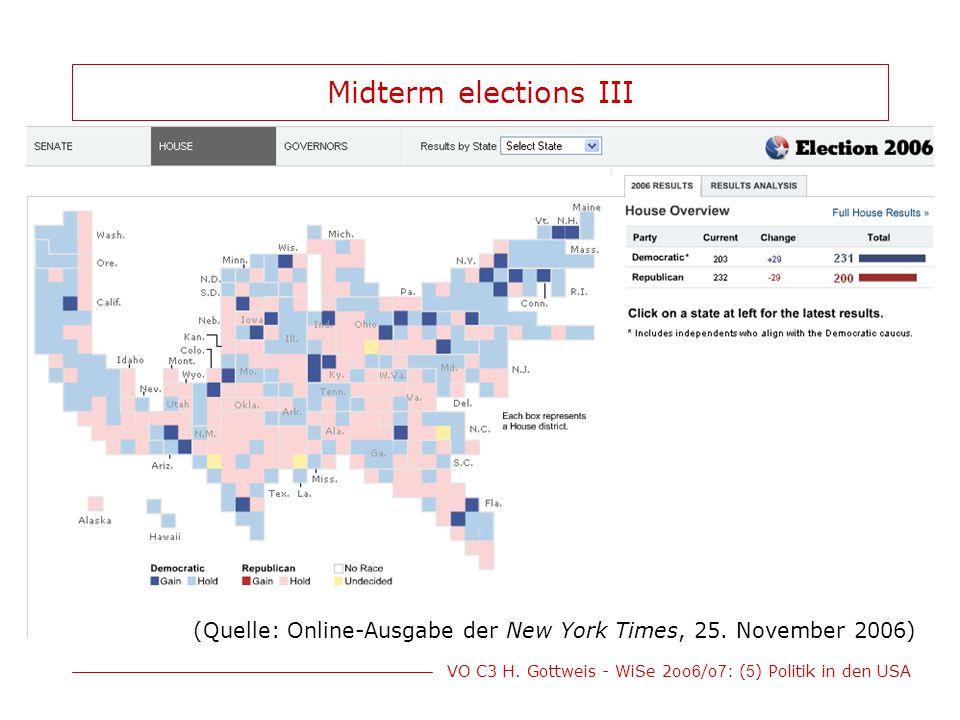 VO C3 H. Gottweis - WiSe 2oo 6 /o 7 : ( 5 ) Politik in den USA Midterm elections III (Quelle: Online-Ausgabe der New York Times, 25. November 2006)