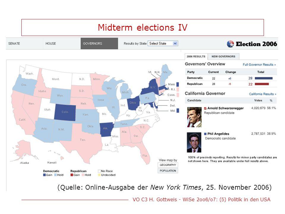 VO C3 H. Gottweis - WiSe 2oo 6 /o 7 : ( 5 ) Politik in den USA Midterm elections IV (Quelle: Online-Ausgabe der New York Times, 25. November 2006)