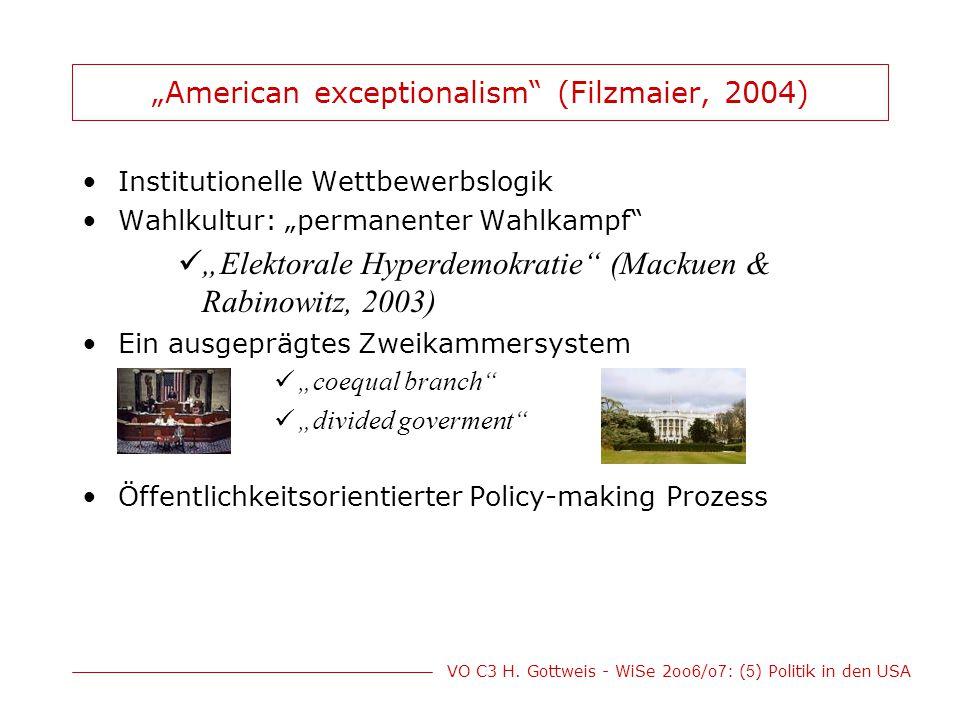 """VO C3 H. Gottweis - WiSe 2oo 6 /o 7 : ( 5 ) Politik in den USA """"American exceptionalism"""" (Filzmaier, 2004) Institutionelle Wettbewerbslogik Wahlkultur"""