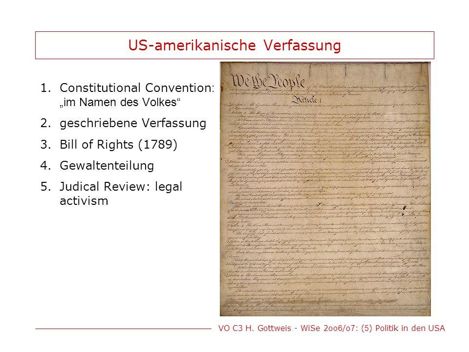 """VO C3 H. Gottweis - WiSe 2oo 6 /o 7 : ( 5 ) Politik in den USA US-amerikanische Verfassung 1.Constitutional Convention : """"im Namen des Volkes"""" 2.gesch"""