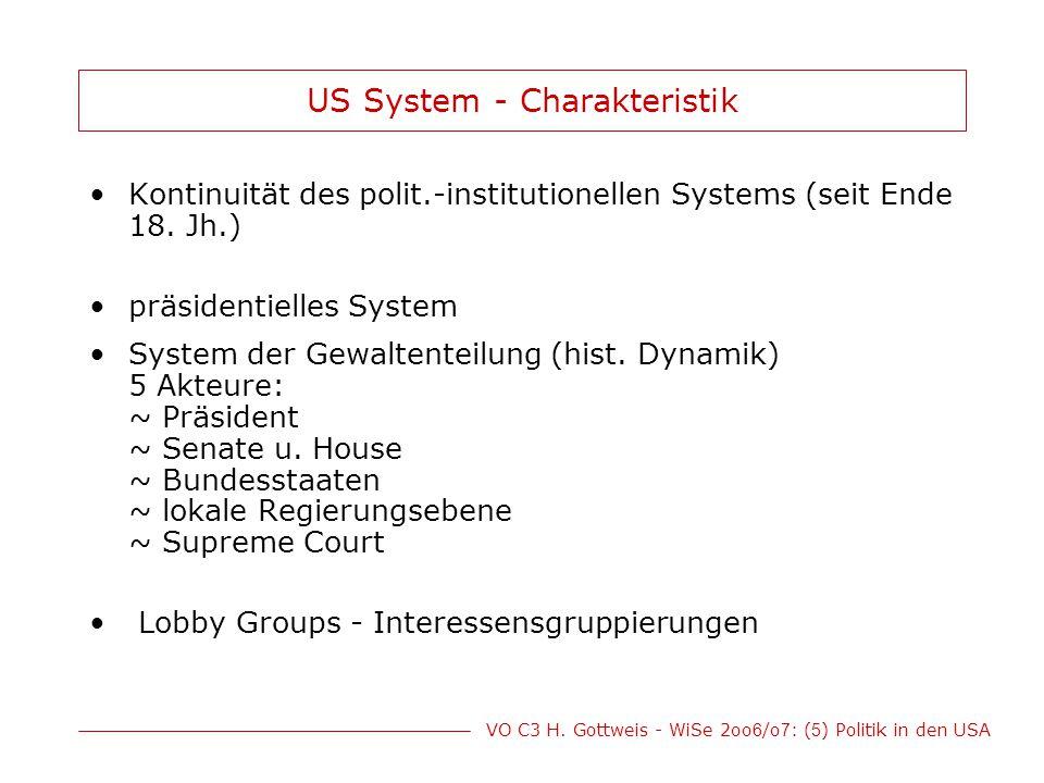 VO C3 H. Gottweis - WiSe 2oo 6 /o 7 : ( 5 ) Politik in den USA US System - Charakteristik Kontinuität des polit.-institutionellen Systems (seit Ende 1