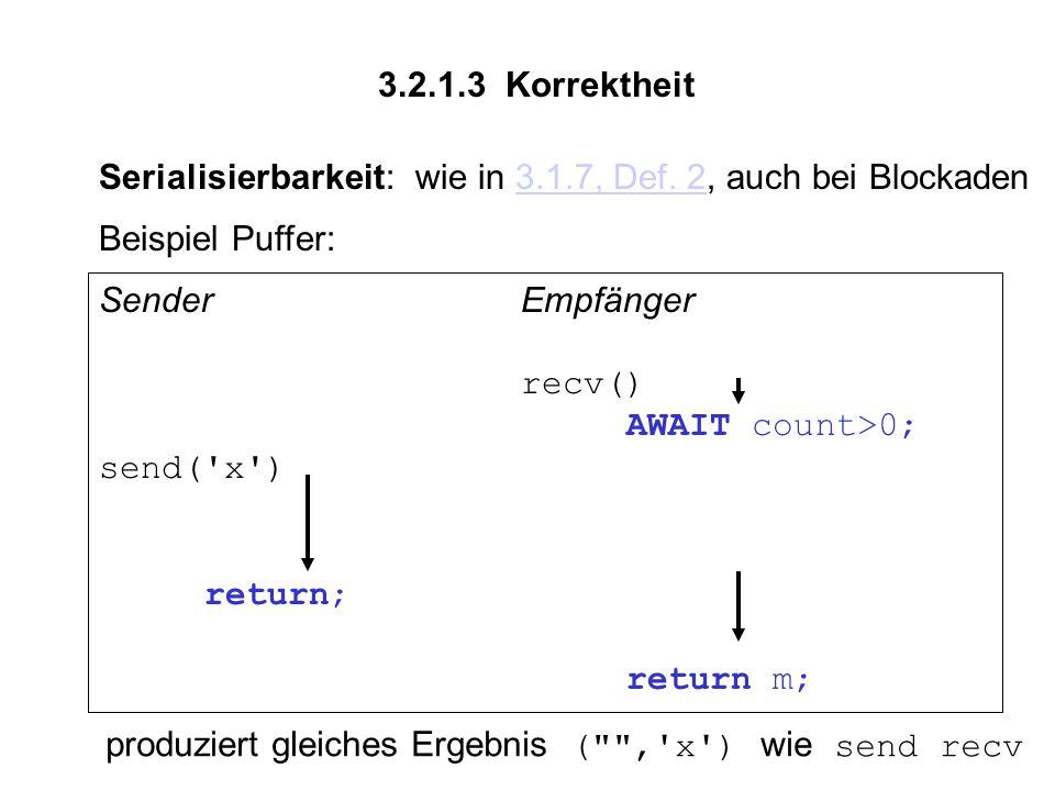 3.2.1.3 Korrektheit Serialisierbarkeit:wie in 3.1.7, Def.