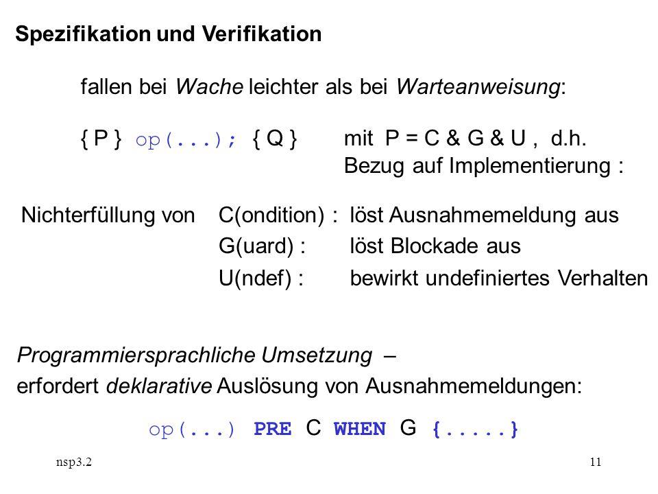 nsp3.211 Spezifikation und Verifikation fallen bei Wache leichter als bei Warteanweisung: { P } op(...); { Q }mit P = C & G & U, d.h.