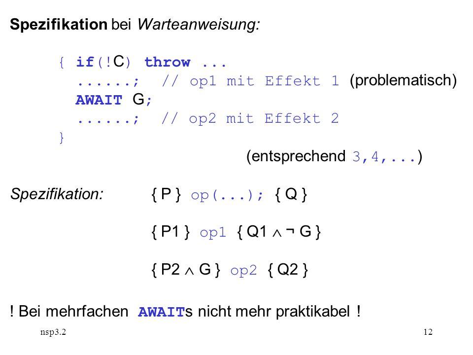 nsp3.212 Spezifikation bei Warteanweisung: { if(.