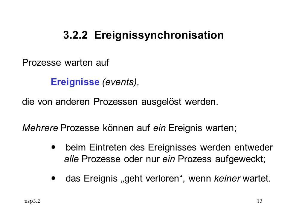 nsp3.213 3.2.2 Ereignissynchronisation Prozesse warten auf Ereignisse (events), die von anderen Prozessen ausgelöst werden.