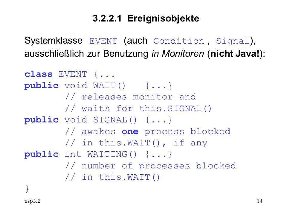 nsp3.214 3.2.2.1 Ereignisobjekte Systemklasse EVENT (auch Condition, Signal ), ausschließlich zur Benutzung in Monitoren (nicht Java!): class EVENT {...
