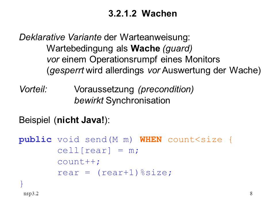 nsp3.28 3.2.1.2 Wachen Deklarative Variante der Warteanweisung: Wartebedingung als Wache (guard) vor einem Operationsrumpf eines Monitors (gesperrt wird allerdings vor Auswertung der Wache) Vorteil:Voraussetzung (precondition) bewirkt Synchronisation Beispiel (nicht Java!): public void send(M m) WHEN count<size { cell[rear] = m; count++; rear = (rear+1)%size; }