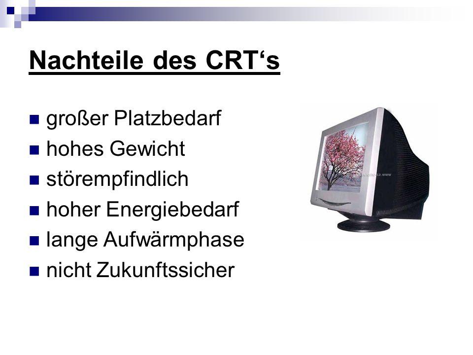 Nachteile des CRT's großer Platzbedarf hohes Gewicht störempfindlich hoher Energiebedarf lange Aufwärmphase nicht Zukunftssicher