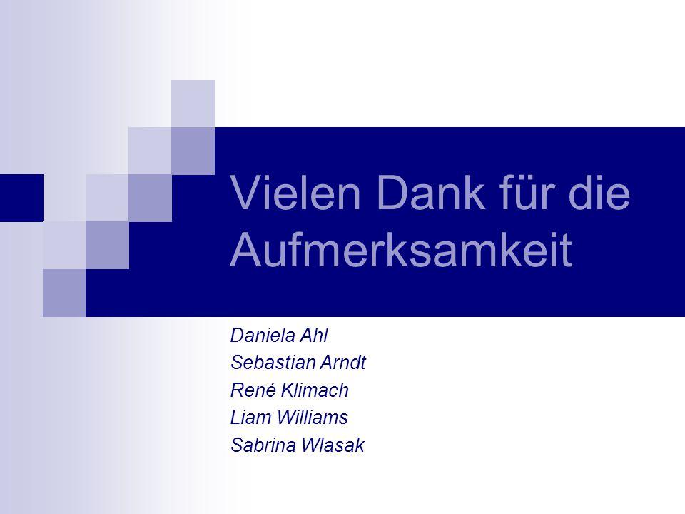 Vielen Dank für die Aufmerksamkeit Daniela Ahl Sebastian Arndt René Klimach Liam Williams Sabrina Wlasak