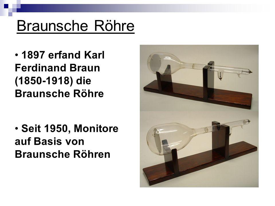 Braunsche Röhre Seit 1950, Monitore auf Basis von Braunsche Röhren 1897 erfand Karl Ferdinand Braun (1850-1918) die Braunsche Röhre