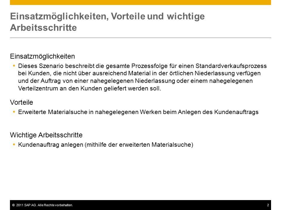 ©2011 SAP AG. Alle Rechte vorbehalten.2 Einsatzmöglichkeiten, Vorteile und wichtige Arbeitsschritte Einsatzmöglichkeiten  Dieses Szenario beschreibt