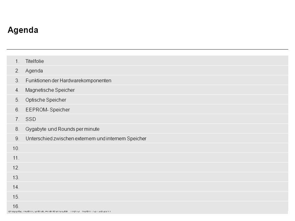 Gruppe2: Noémi, Blerta, Ariane und Lea  HG13  Koeln / 27.09.2011 1.Titelfolie 2.Agenda 3.Funktionen der Hardwarekomponenten 4.Magnetische Speicher 5.Optische Speicher 6.EEPROM- Speicher 7.SSD 8.Gygabyte und Rounds per minute 9.Unterschied zwischen externem und internem Speicher 10.
