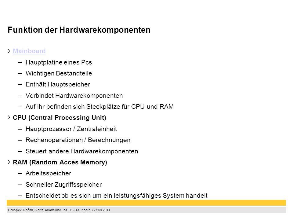 Gruppe2: Noémi, Blerta, Ariane und Lea  HG13  Koeln / 27.09.2011 Funktion der Hardwarekomponenten Mainboard –Hauptplatine eines Pcs –Wichtigen Bestandteile –Enthält Hauptspeicher –Verbindet Hardwarekomponenten –Auf ihr befinden sich Steckplätze für CPU und RAM CPU (Central Processing Unit) –Hauptprozessor / Zentraleinheit –Rechenoperationen / Berechnungen –Steuert andere Hardwarekomponenten RAM (Random Acces Memory) –Arbeitsspeicher –Schneller Zugriffsspeicher –Entscheidet ob es sich um ein leistungsfähiges System handelt