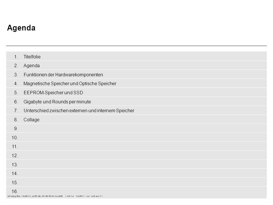 Gruppe2: Noémi, Blerta, Ariane und Lea  HG13  Koeln / 27.09.2011 Funktion der Hardwarekomponenten Mainboard –Hauptplatine /Hauptspeicher eines PCs –Verbindet Hardwarekomponenten –Auf ihr befinden sich Steckplätze für CPU und RAM CPU (Central Processing Unit) –Hauptprozessor / Zentraleinheit –Rechenoperationen / Berechnungen –Steuert andere Hardwarekomponenten RAM (Random Acces Memory) –Arbeitsspeicher –Schneller Zugriffsspeicher –Entscheidet ob es sich um ein leistungsfähiges System handelt Grafikkarte –Zuständigkeit für die Auflösung der Bilder Laufwerke –Wird unterschieden in magnetischen Laufwerken und optischen Laufwerken
