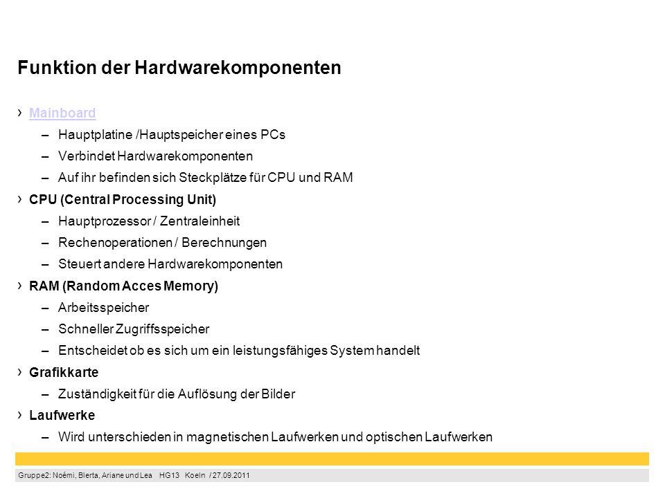 Gruppe2: Noémi, Blerta, Ariane und Lea  HG13  Koeln / 27.09.2011 Funktion der Hardwarekomponenten Mainboard –Hauptplatine /Hauptspeicher eines PCs
