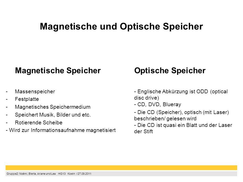 Gruppe2: Noémi, Blerta, Ariane und Lea  HG13  Koeln / 27.09.2011 Magnetische und Optische Speicher Magnetische Speicher -Massenspeicher -Festplatt