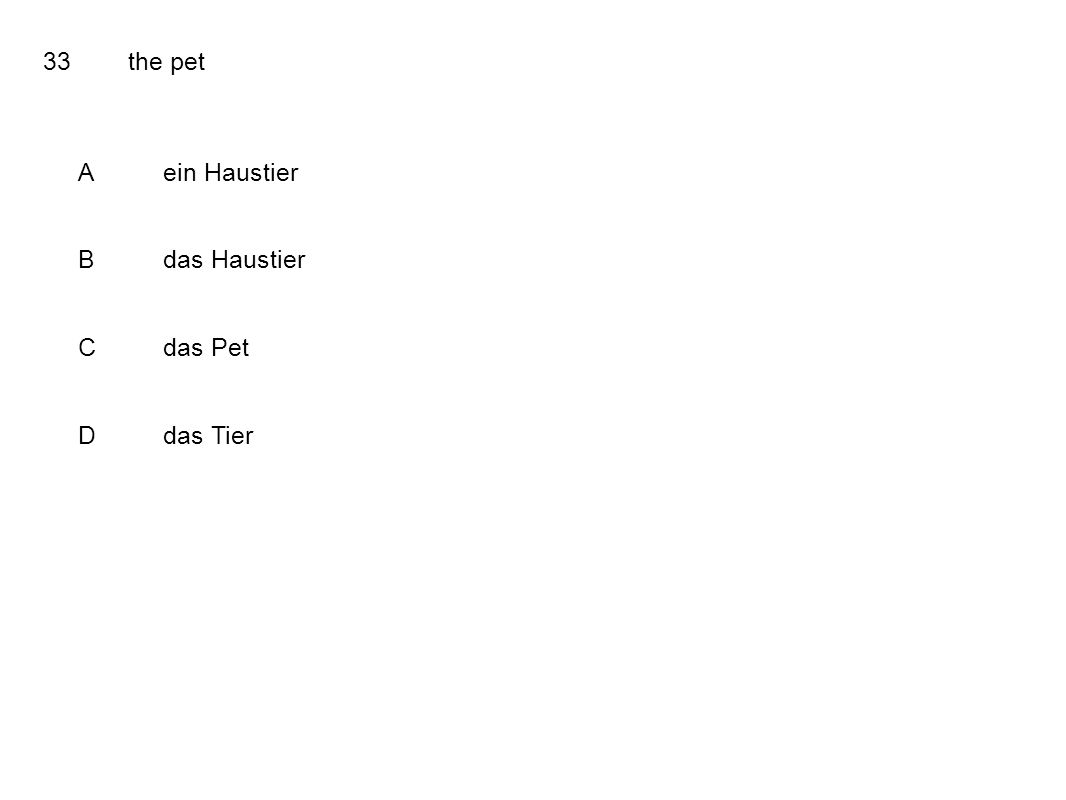 33the pet Aein Haustier Bdas Haustier Cdas Pet Ddas Tier