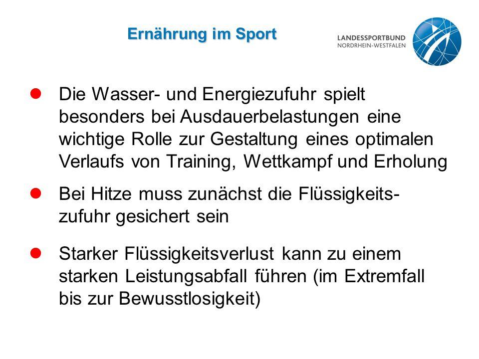 Die Wasser- und Energiezufuhr spielt besonders bei Ausdauerbelastungen eine wichtige Rolle zur Gestaltung eines optimalen Verlaufs von Training, Wettk