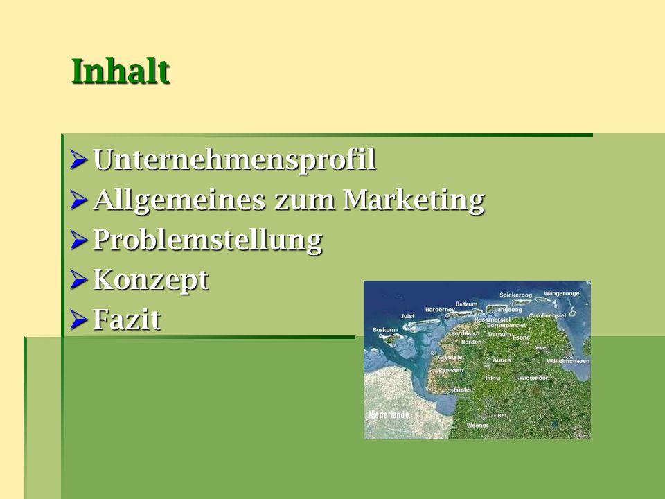 Inhalt  Unternehmensprofil  Allgemeines zum Marketing  Problemstellung  Konzept  Fazit