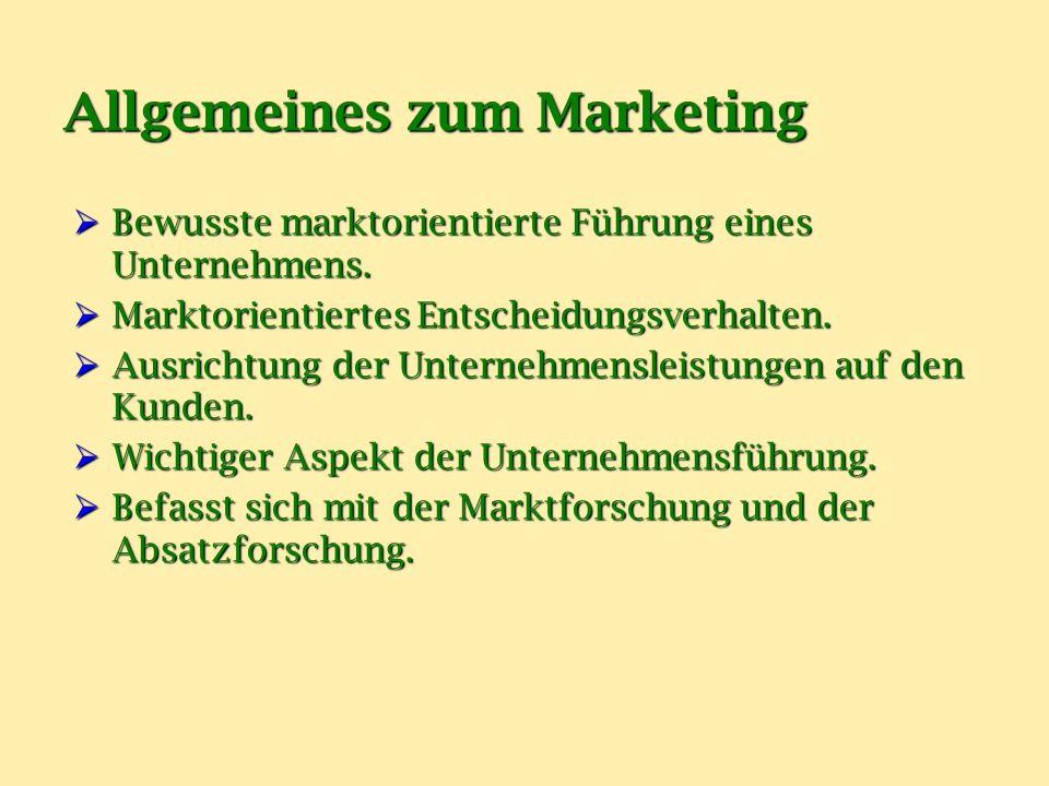Allgemeines zum Marketing  Ziele:  Verbesserung der wirtschaftlichen Situation.
