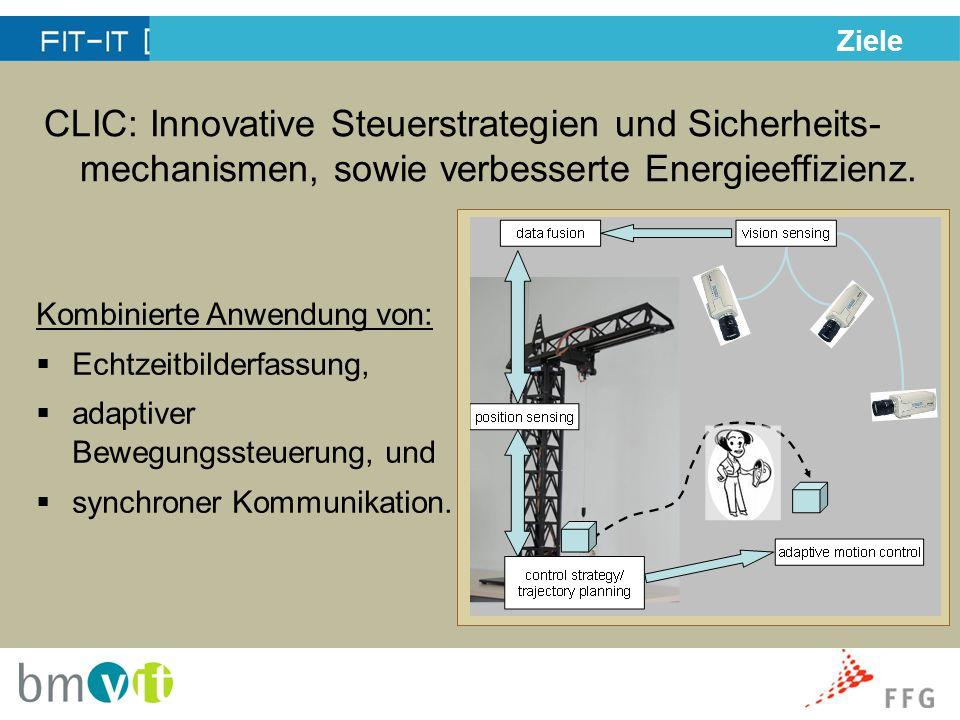 Ziele CLIC: Innovative Steuerstrategien und Sicherheits- mechanismen, sowie verbesserte Energieeffizienz.