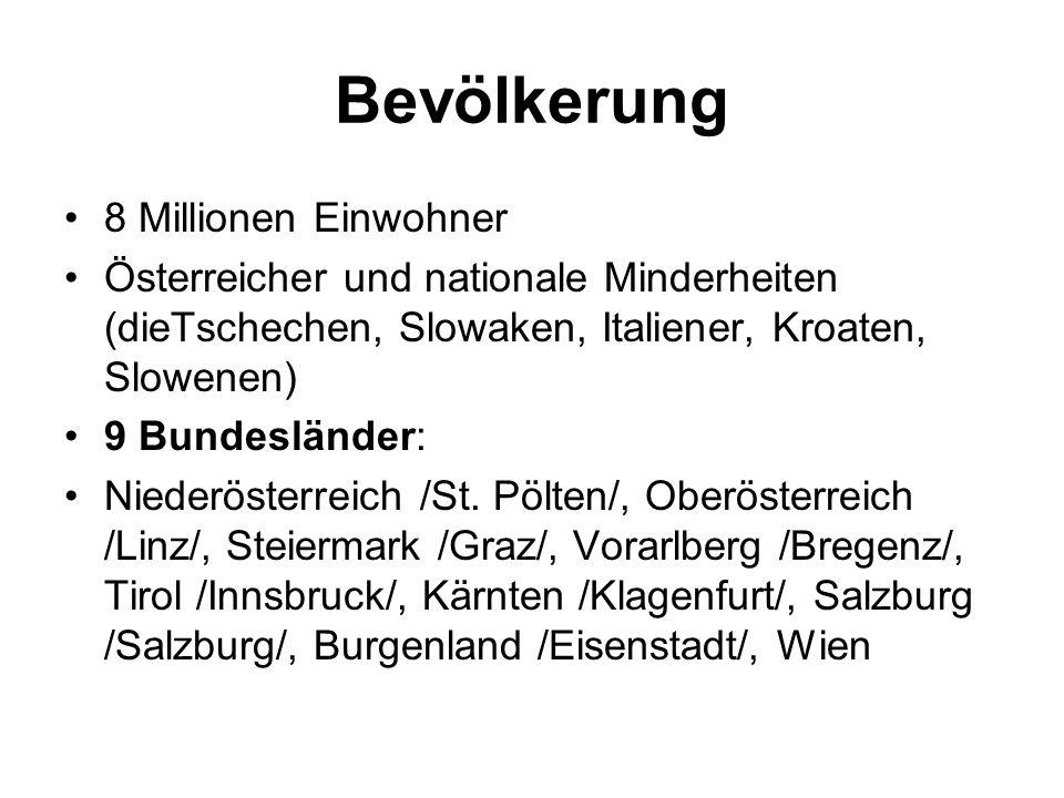 Bevölkerung 8 Millionen Einwohner Österreicher und nationale Minderheiten (dieTschechen, Slowaken, Italiener, Kroaten, Slowenen) 9 Bundesländer: Niederösterreich /St.