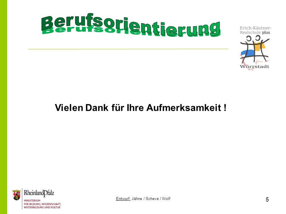 Entwurf: Jähne / Scheve / Wolf 5 Vielen Dank für Ihre Aufmerksamkeit !