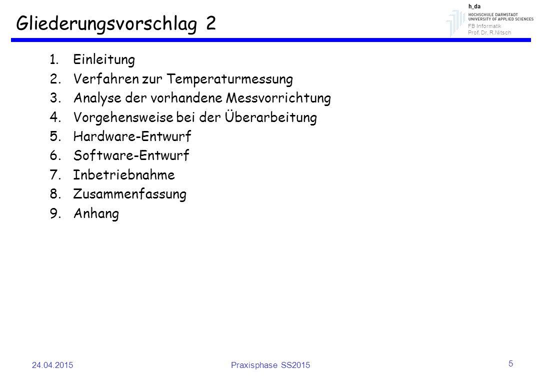 FB Informatik Prof. Dr. R.Nitsch Gliederungsvorschlag 2 1.Einleitung 2.Verfahren zur Temperaturmessung 3.Analyse der vorhandene Messvorrichtung 4.Vorg