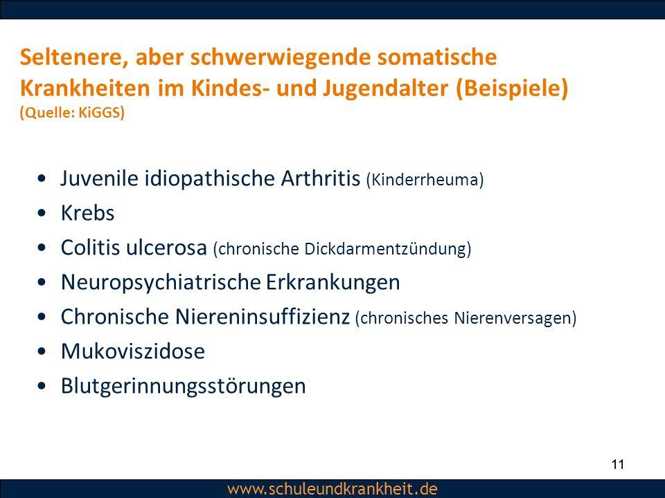 Dipl.-Psych. Christiane Beerbom www.schuleundkrankheit.de 11 www.schuleundkrankheit.de Seltenere, aber schwerwiegende somatische Krankheiten im Kindes