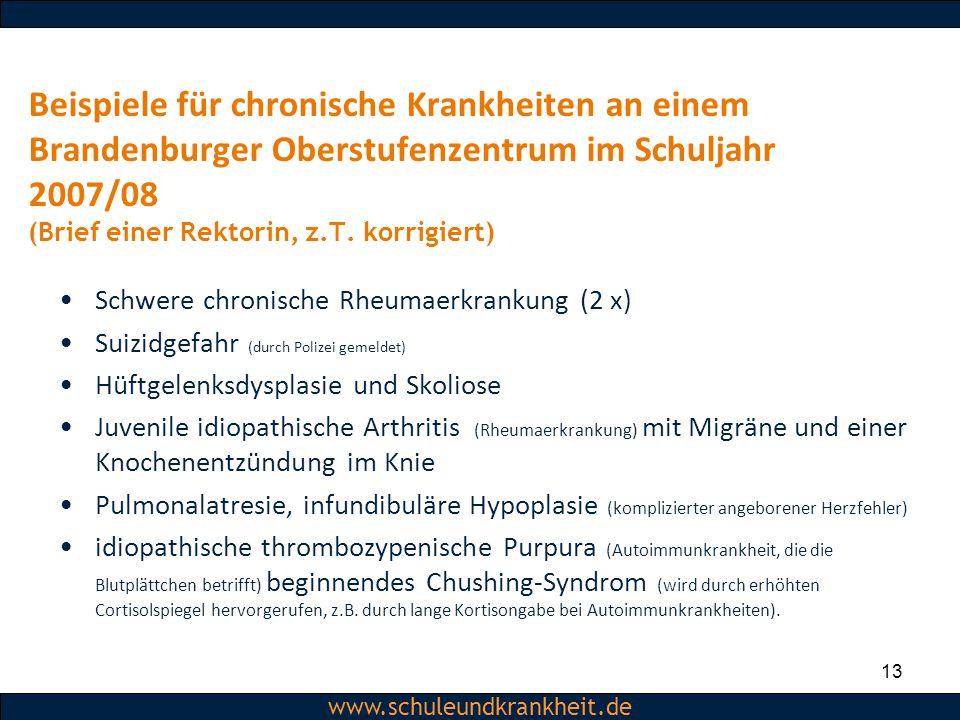 Dipl.-Psych. Christiane Beerbom www.schuleundkrankheit.de Beispiele für chronische Krankheiten an einem Brandenburger Oberstufenzentrum im Schuljahr 2