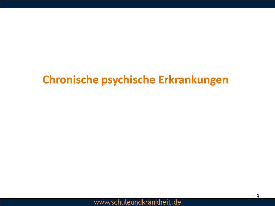 Dipl.-Psych. Christiane Beerbom www.schuleundkrankheit.de 18 Chronische psychische Erkrankungen