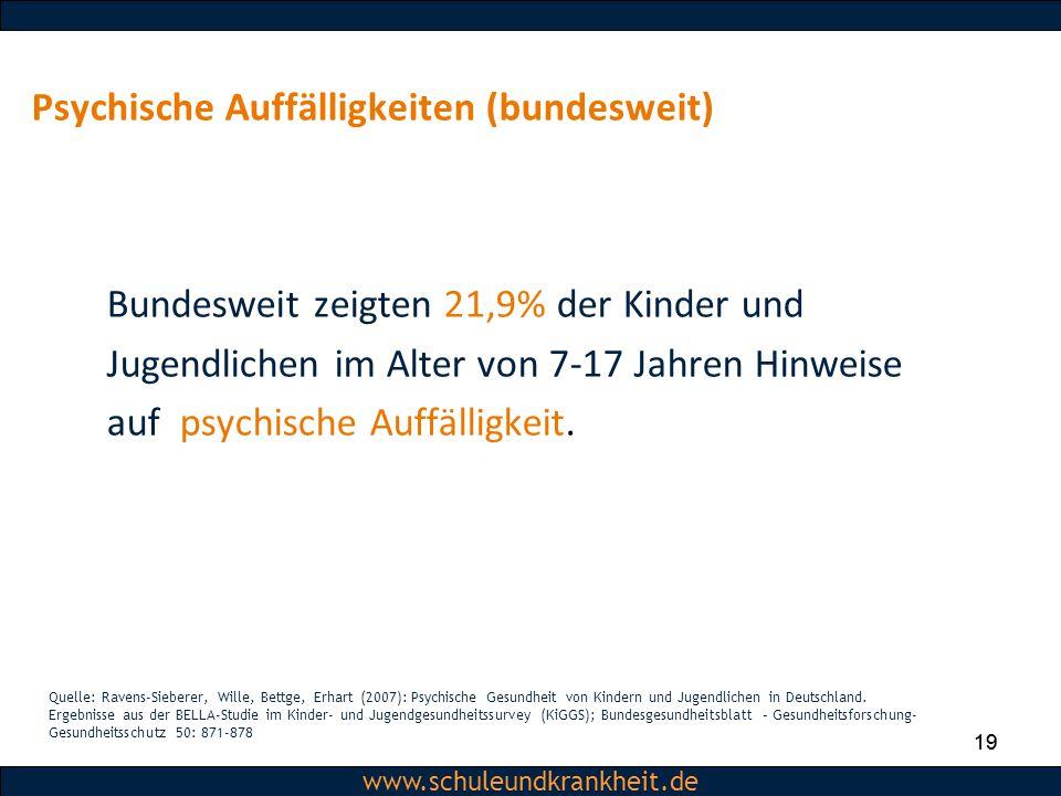 Dipl.-Psych. Christiane Beerbom www.schuleundkrankheit.de 19 www.schuleundkrankheit.de Psychische Auffälligkeiten (bundesweit) Bundesweit zeigten 21,9