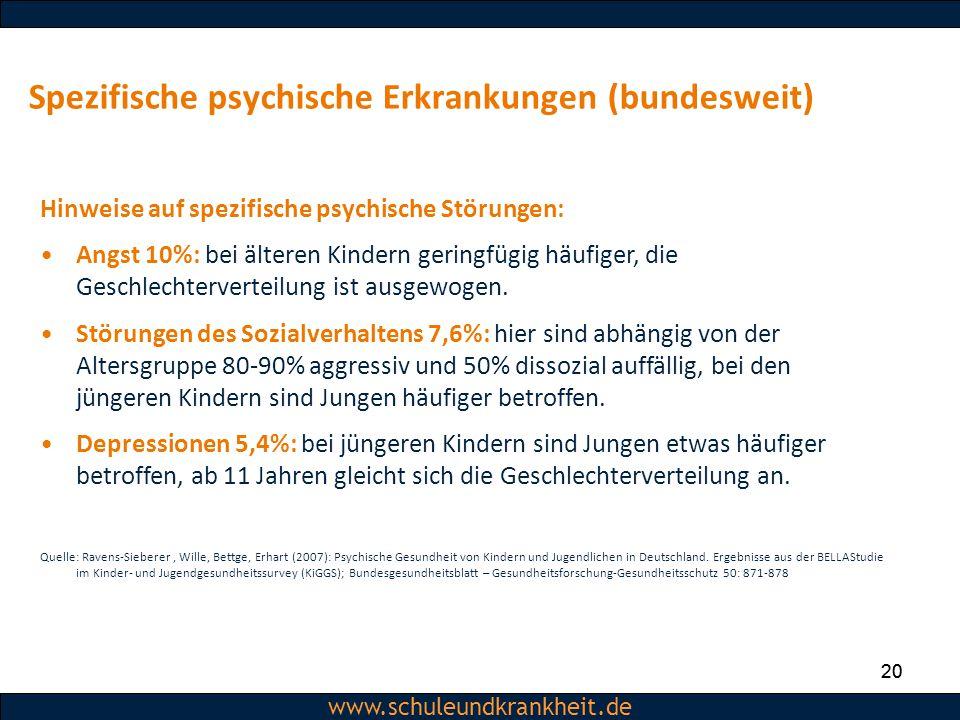 Dipl.-Psych. Christiane Beerbom www.schuleundkrankheit.de 20 www.schuleundkrankheit.de Spezifische psychische Erkrankungen (bundesweit) 20 Hinweise au