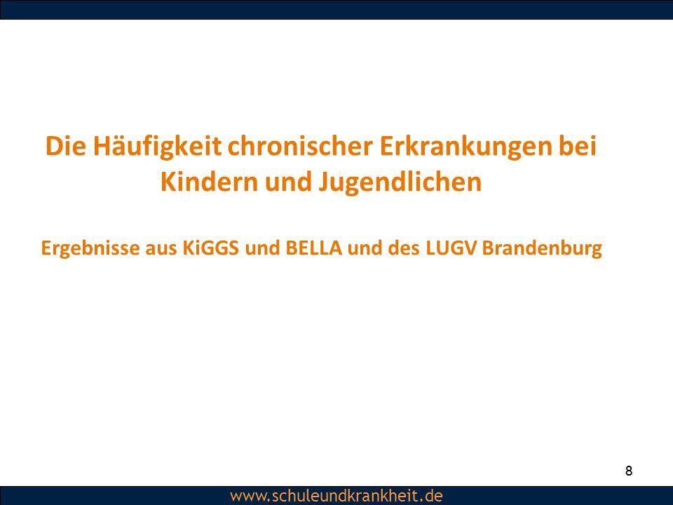 Dipl.-Psych. Christiane Beerbom www.schuleundkrankheit.de 8 8 Die Häufigkeit chronischer Erkrankungen bei Kindern und Jugendlichen Ergebnisse aus KiGG