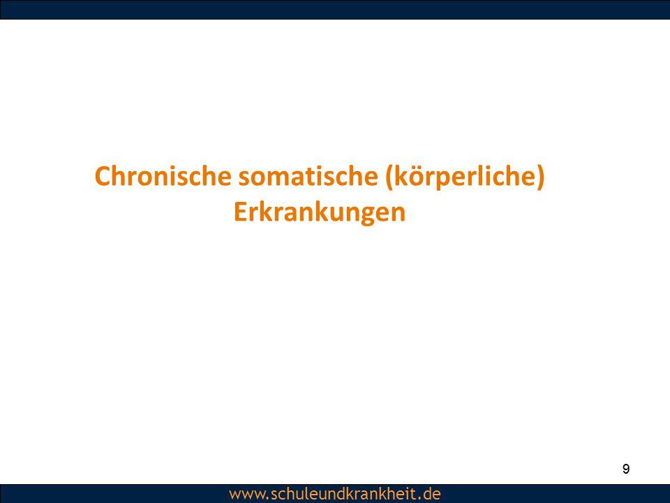Dipl.-Psych. Christiane Beerbom www.schuleundkrankheit.de 9 9 Chronische somatische (körperliche) Erkrankungen