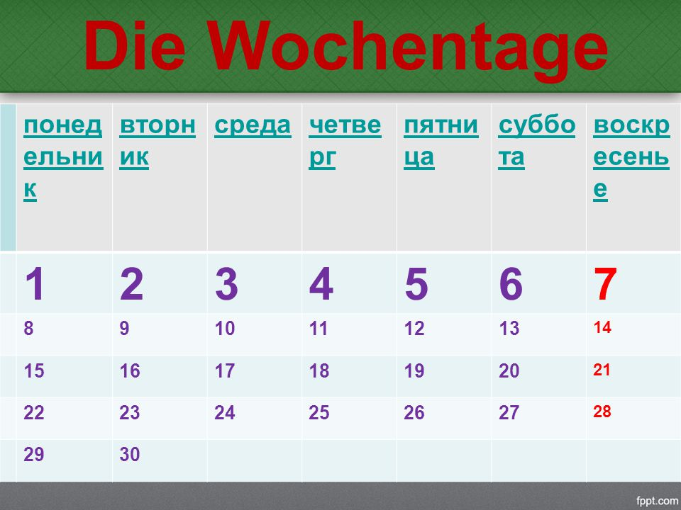 2 (zwei) zweite Wochentag heißt der Dienstag